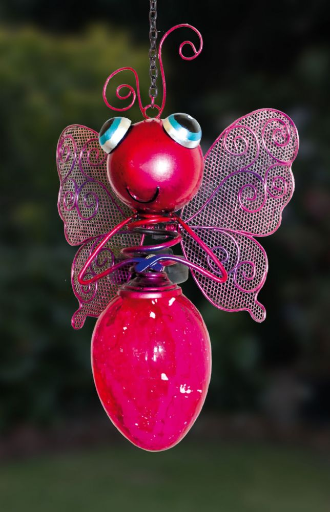 Pink Butterfly Solar Hanging Light Bulb Garden Ornament